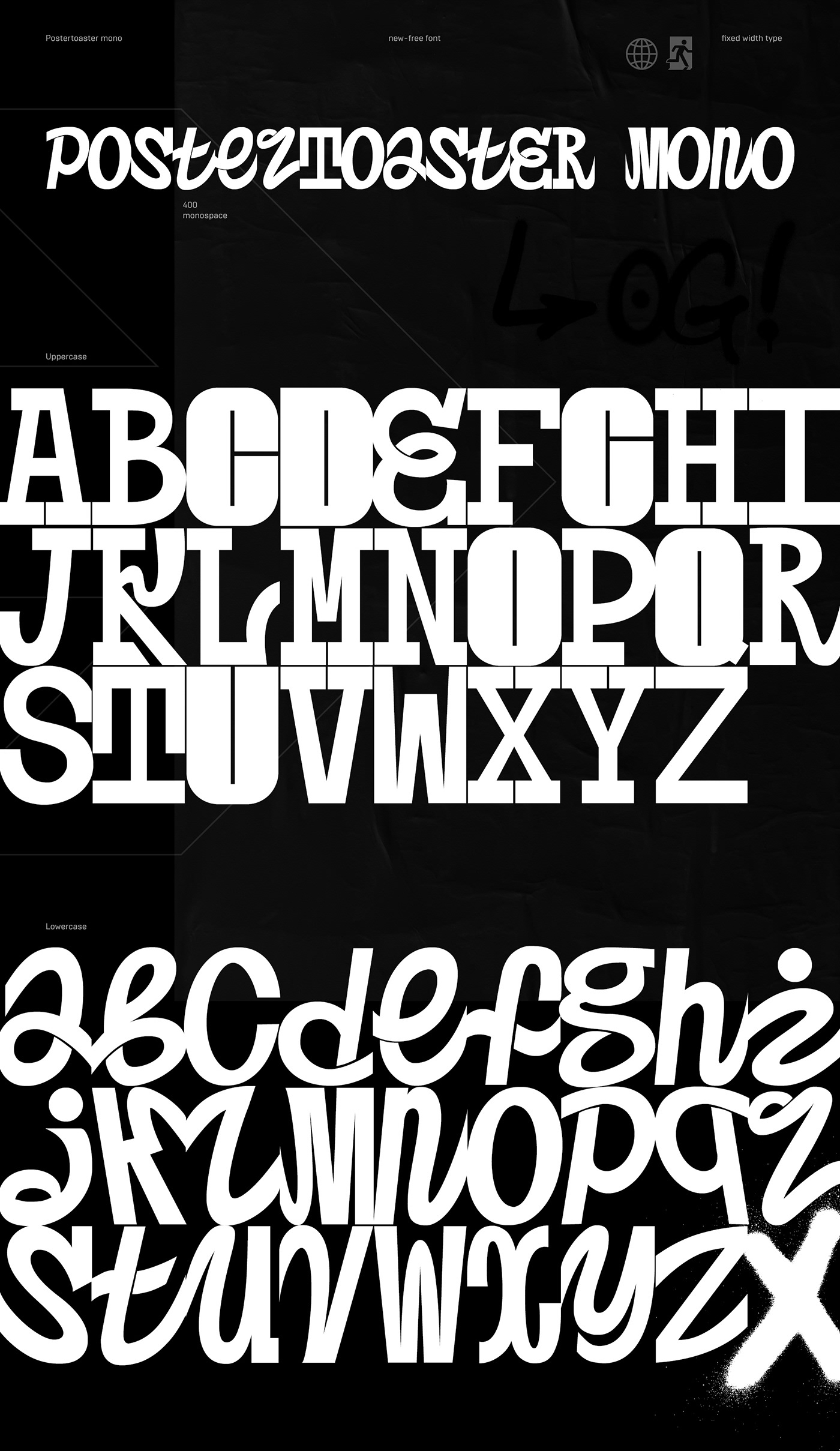 font Postertoaster poster toaster characters uppercase lowercase letters black White