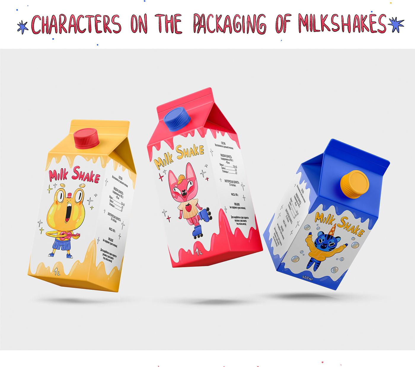 Character characterdesign childrenbook Digital Art  graphic design  ILLUSTRATION  Illustrator milkshakes packaging design product
