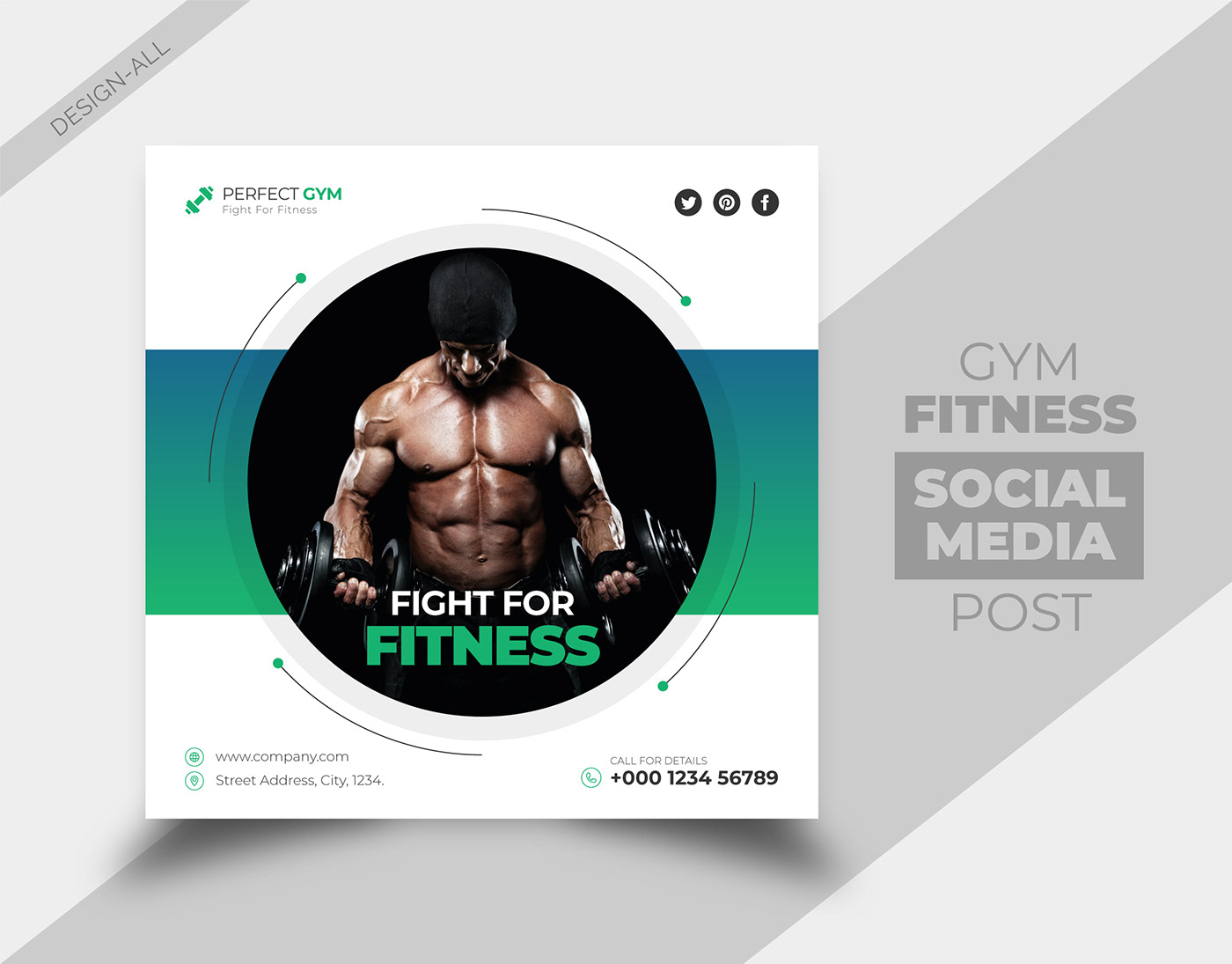 body builder business design facebook cover FIT fitness gym Instagram Post social media