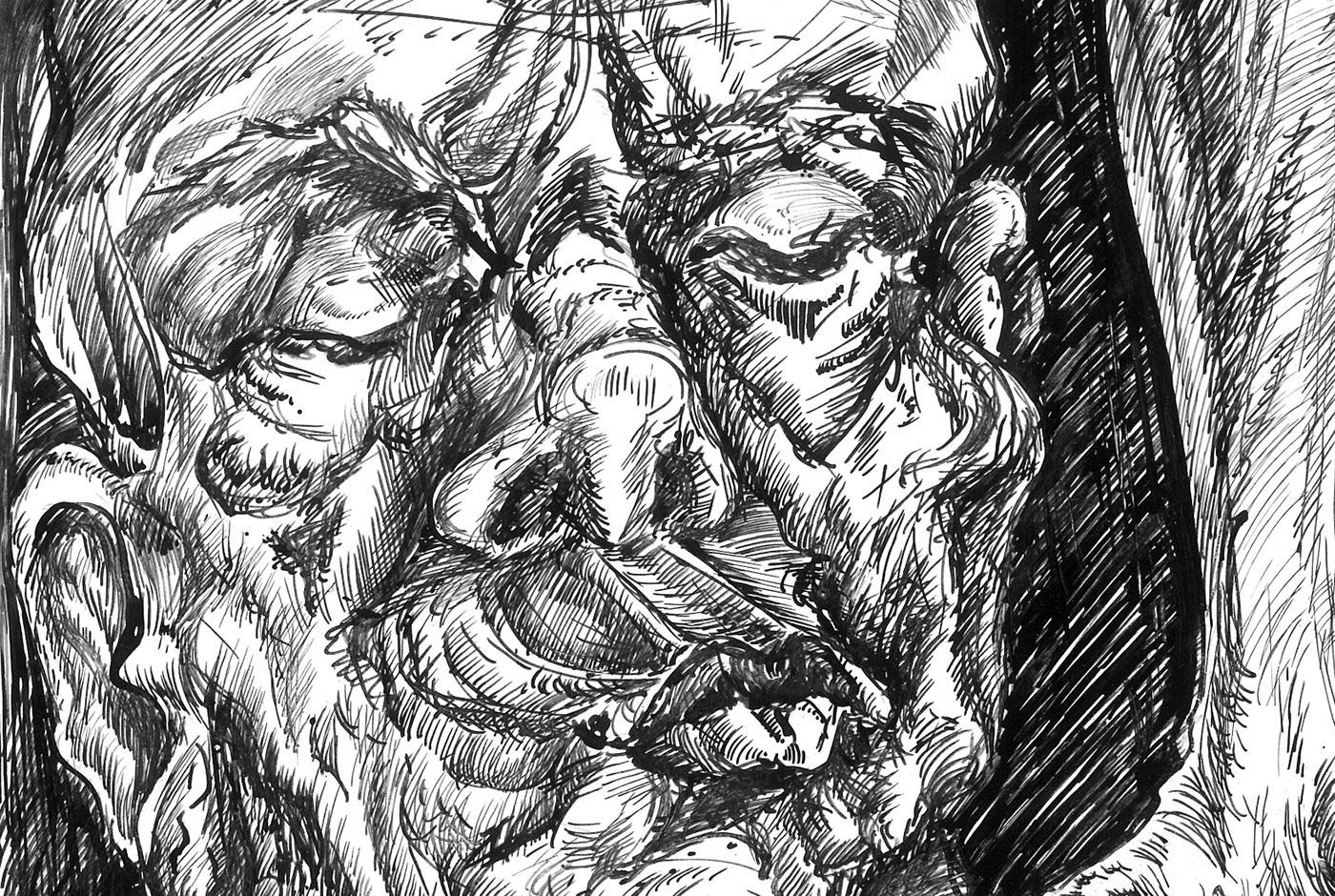 ink artwork invasion Emotional psychology philosophy  grotesque surrealism ILLUSTRATION  memories