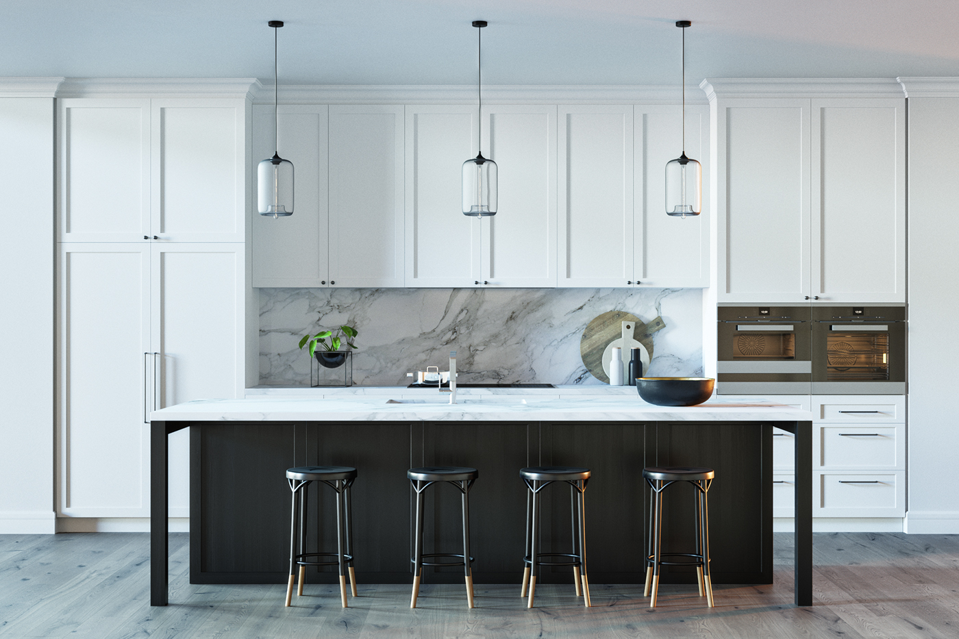 BLACK & WHITE KITCHEN | 3d model on Behance