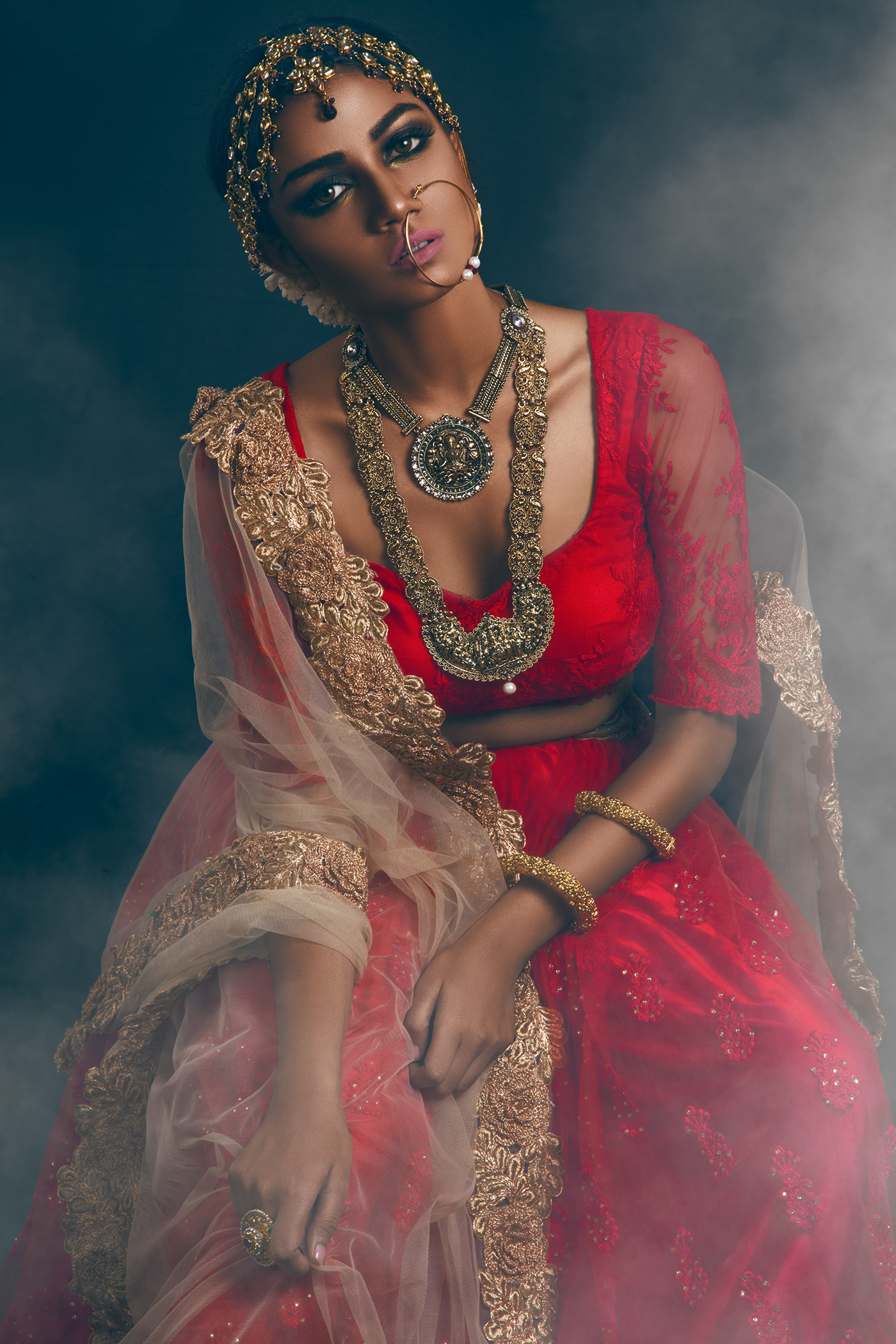 Beautiful Indian bride in traditional wedding dress and