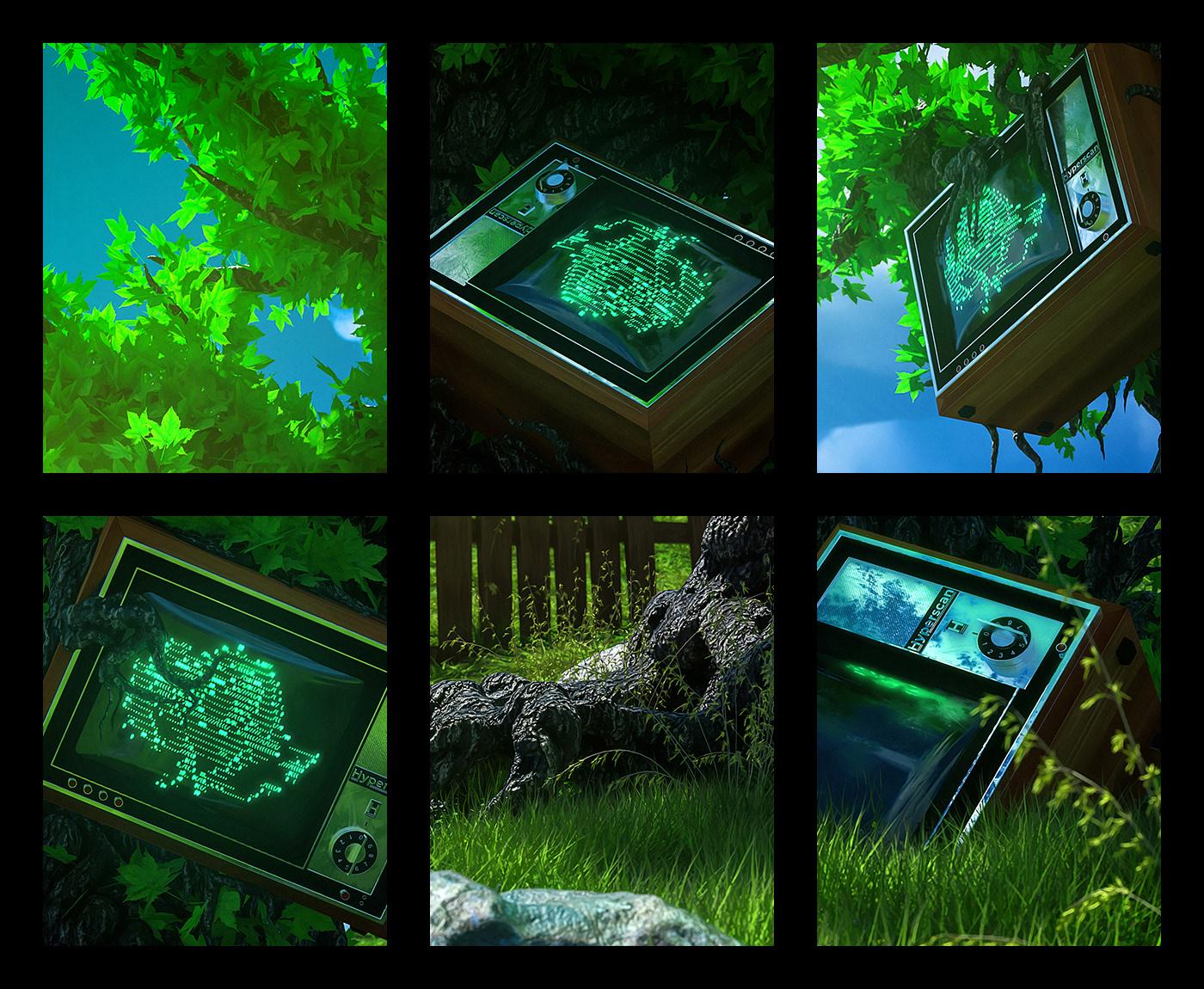 3D abstract ascii CRT green Tree