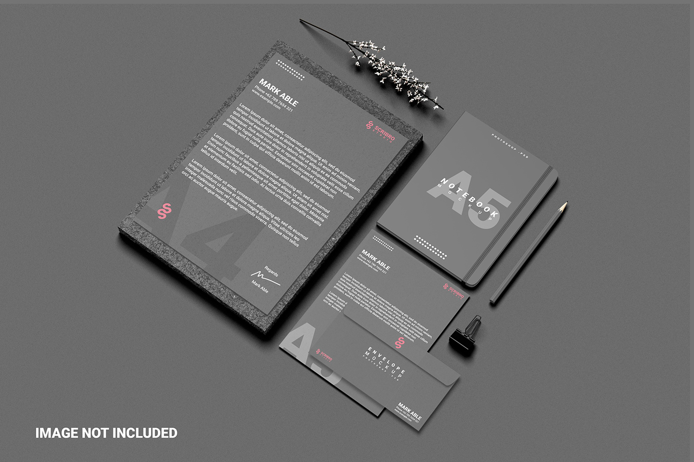 a5 a5notebook branding  creative envelope free mockup  Mockup pencil Stationery