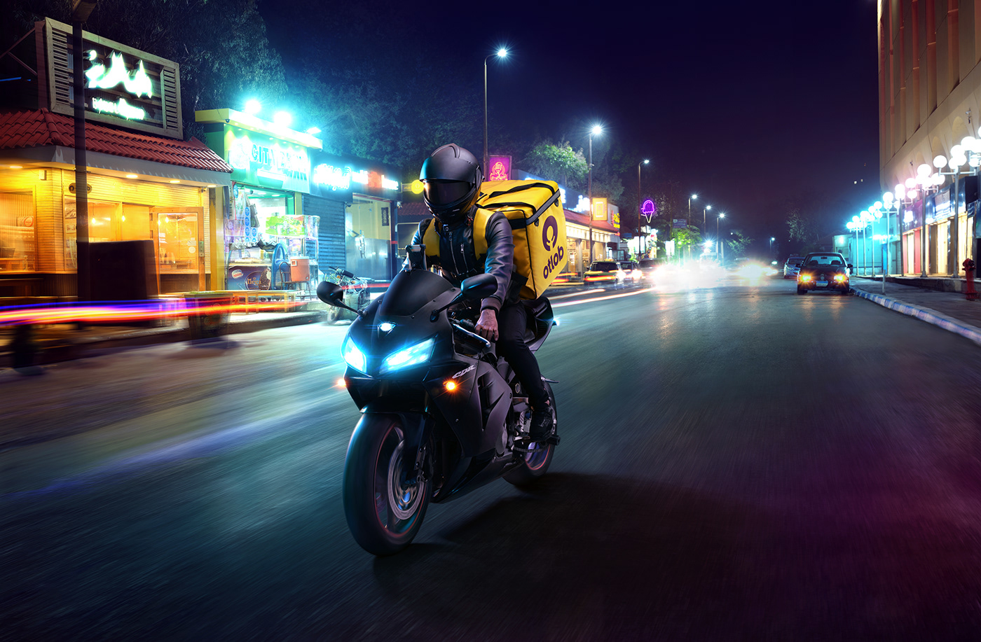 Otlob neon motorcycle delivery campagin Food  maadi egypt Advertising  Photo Manipulation