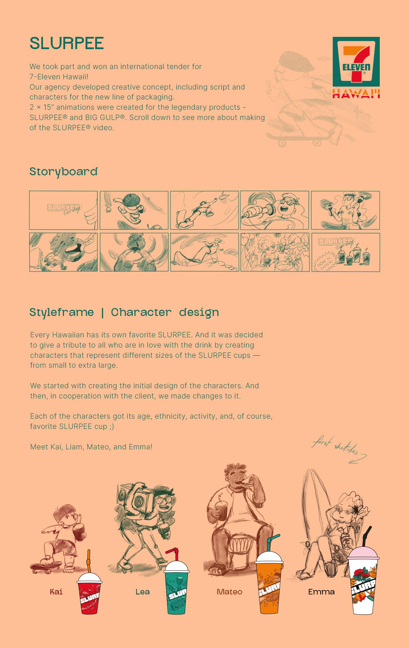 animation  cartoon Cel Animation Character design  frame by frame 2D Animation 7-Eleven promotional video SLURPEE explainer video