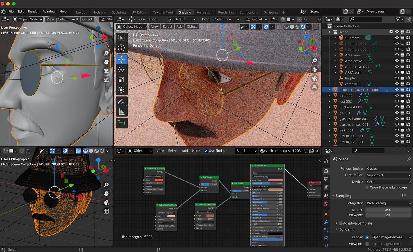 3D apple blender Character Digital Art  memoji portrait redesign cycles modeling