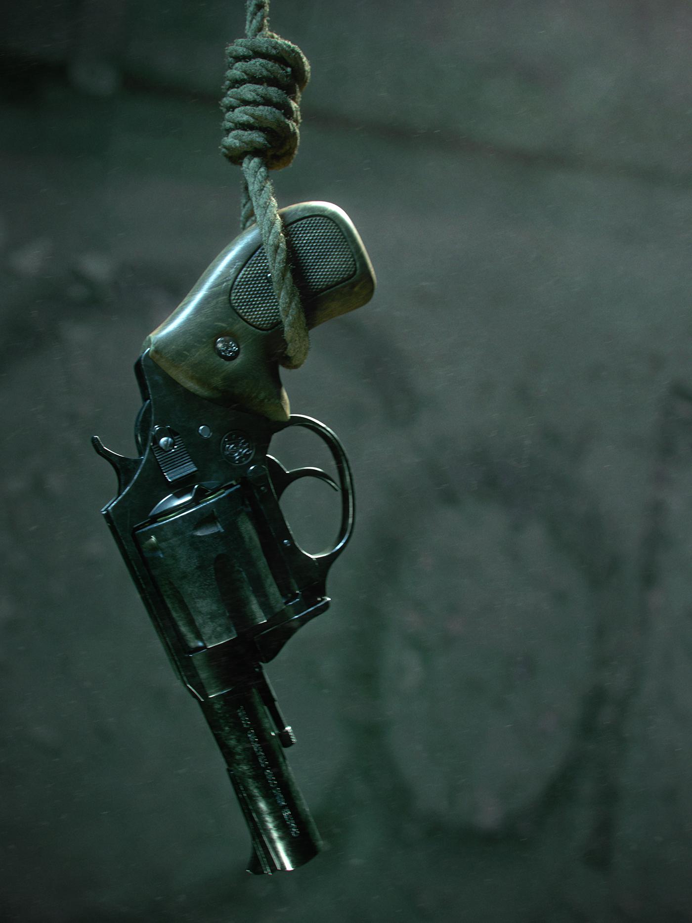 dark death suicide Gun cinematography 3D Render sad bulldog 44