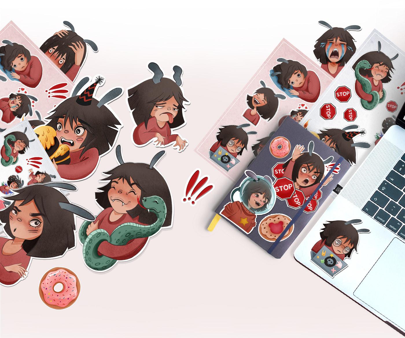 Character design  Digital Art  ILLUSTRATION  illustrations sketch sticker sticker pack stickers Telegram telegram stickers