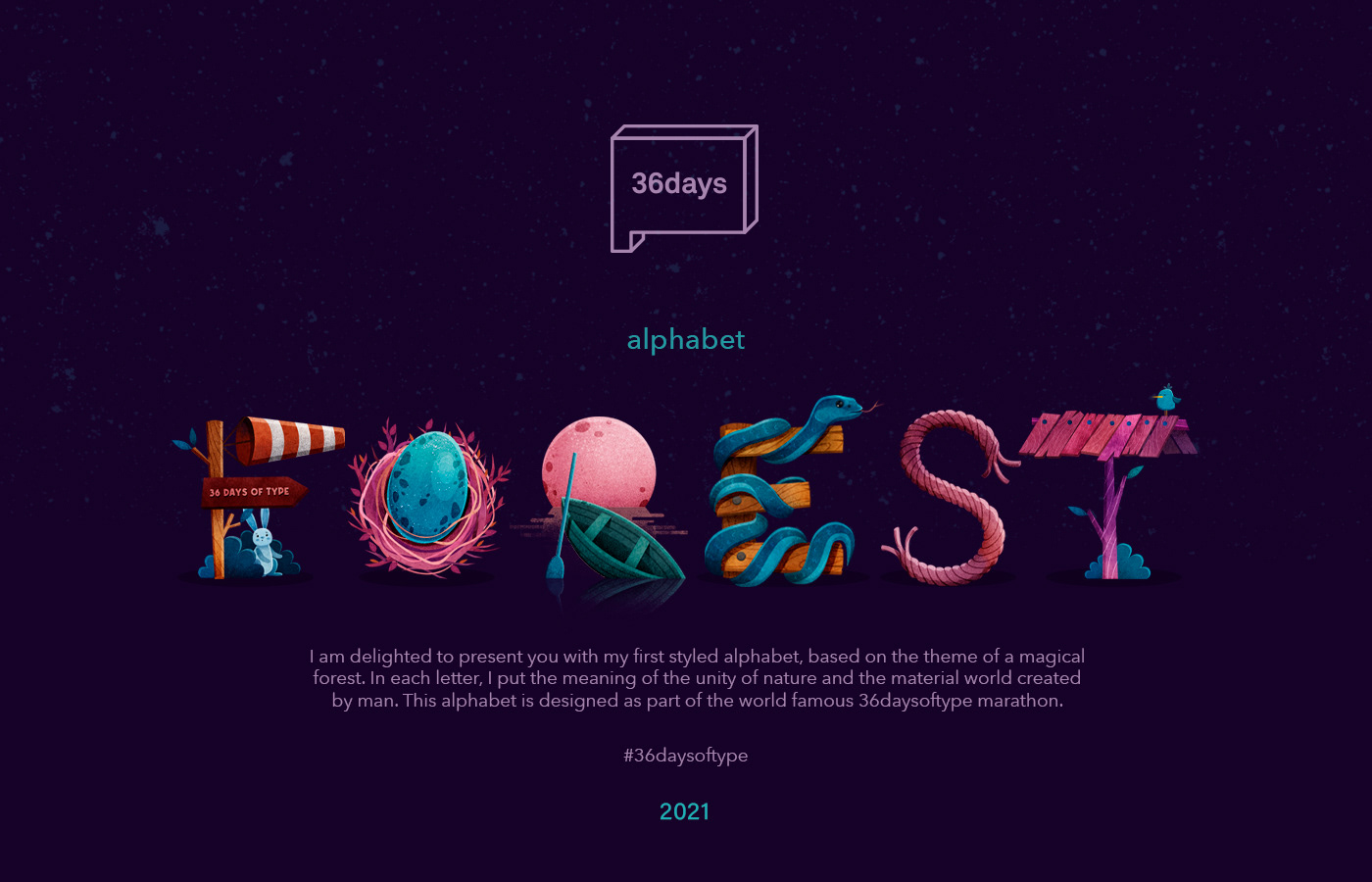 36daysoftype alphabet book font forest ILLUSTRATION  lettering letters type typography