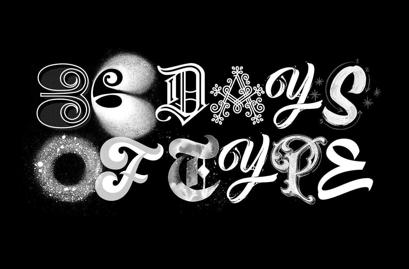 36daysoftype tipografia caligrafia lettering brush Blackletter gif blackandwhite