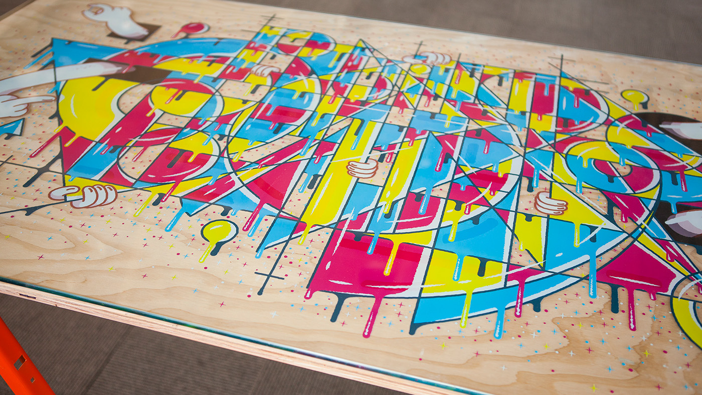facebook,f8,table,print,alex sheyn,geometric,Illustrator,abstract,line,yellow,blue,red,magenta,conference