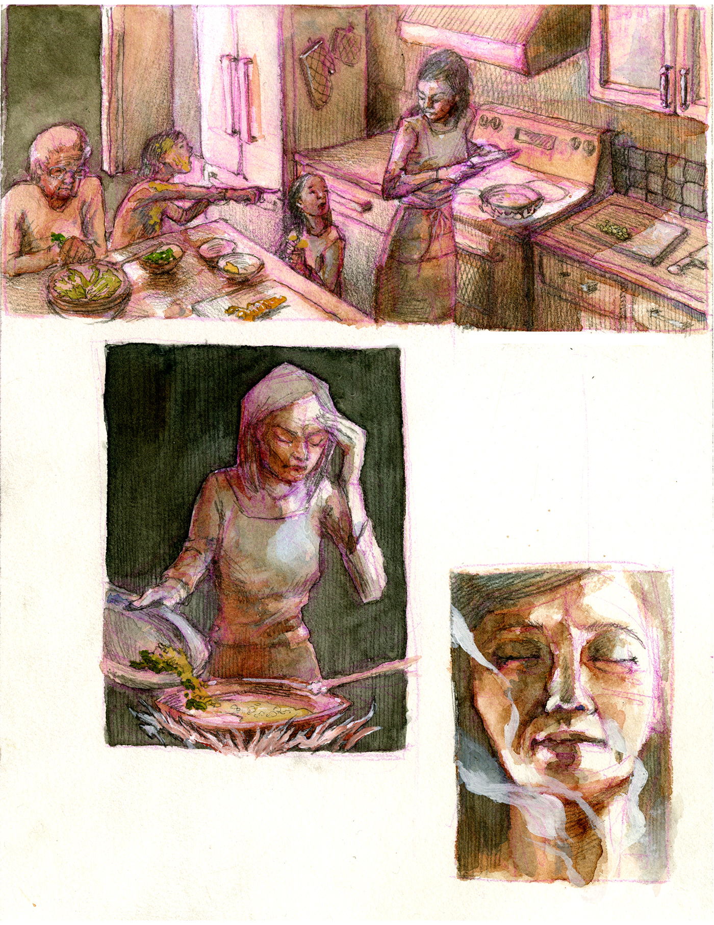 kitchen biography personal cooking Culinary culture family ILLUSTRATION  comic watercolor