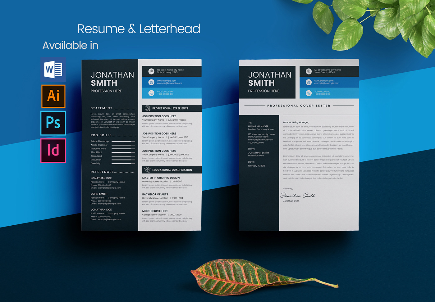 Resume And Letterhead Template Layout On Behance