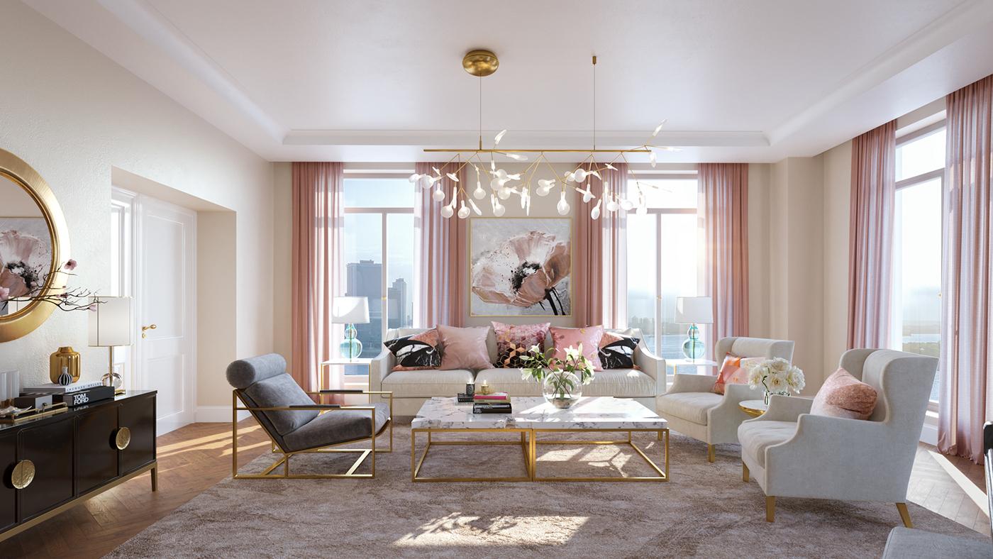 Rose Gold Living Room on Behance