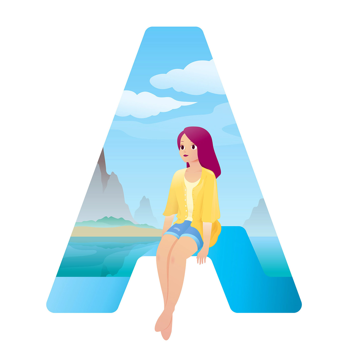 letter a letter typography   girl beach