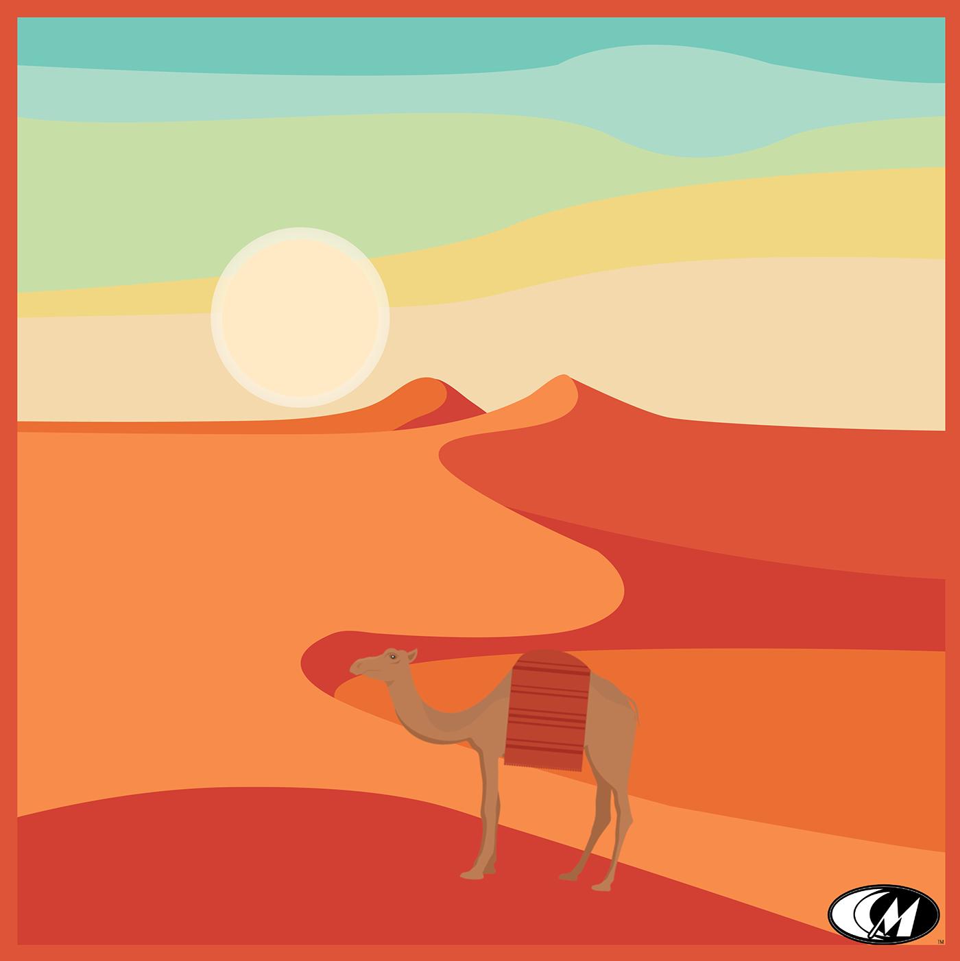 desert sand camel Landscape sand dunes graphic design