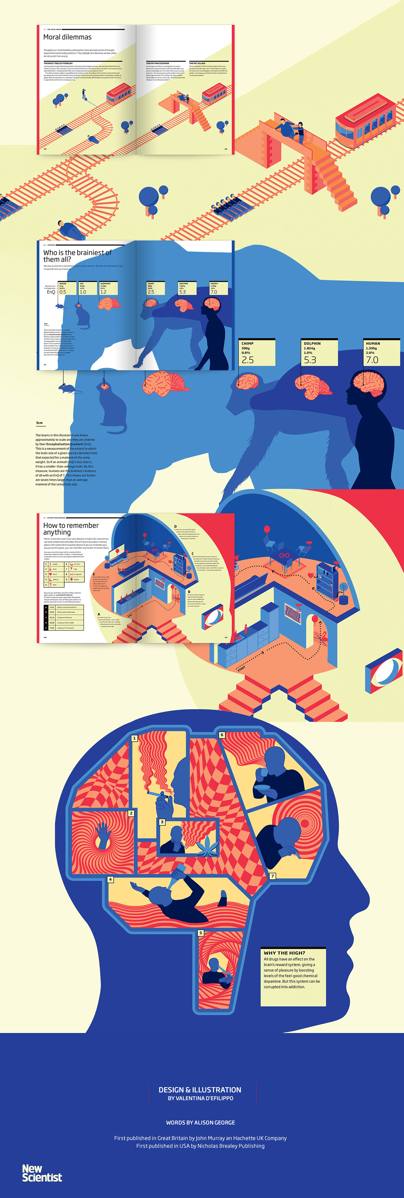 book design book brain science infographics infographic storytelling blue red illustrations body