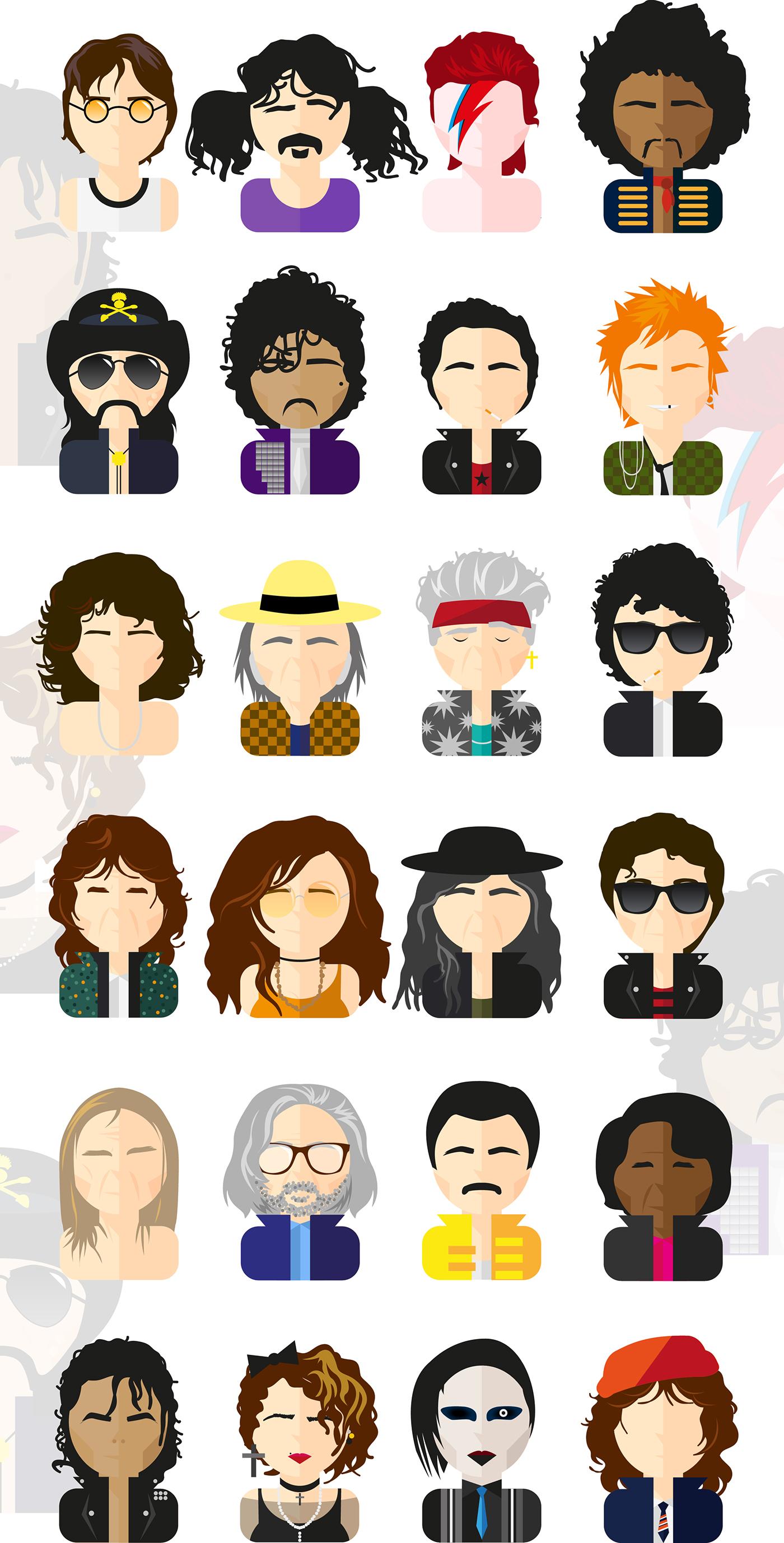 rock game Michael Jackson neil young Freddie Mercury James Brown Frank Zappa Keith Richards madonna John Lennon Jimi Hendrix bob dylan prince david bowie