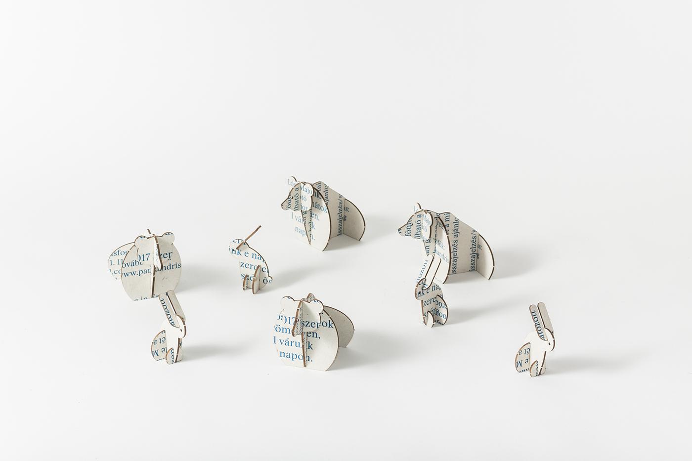 wedding Invitation silkscreen laser bunny bear greyboard puzzle toy envelope