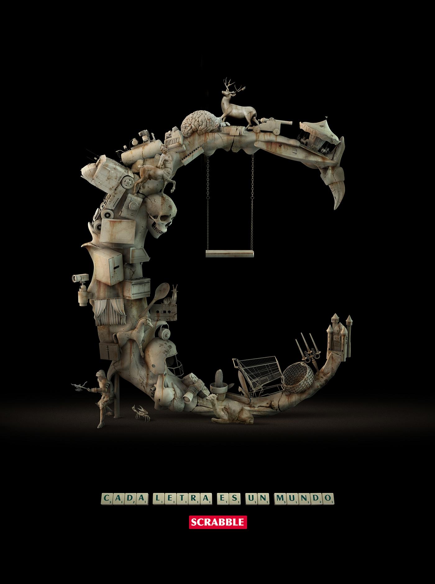 Sergio Duarte DDB Chile Scrabble letters 3D art Render design ILLUSTRATION  digital