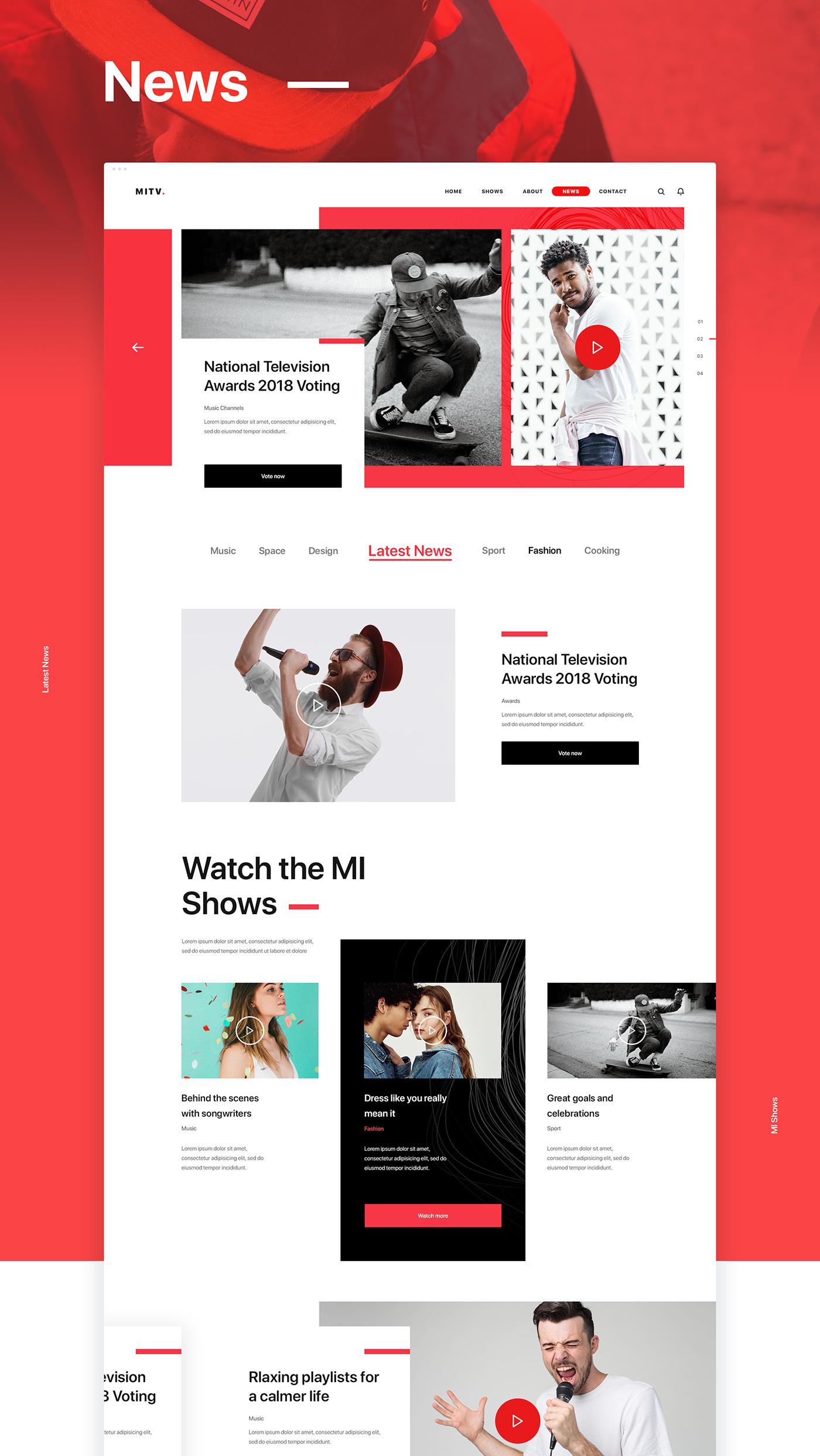 Channel Entertainment Website design mi tv news Show television tv company