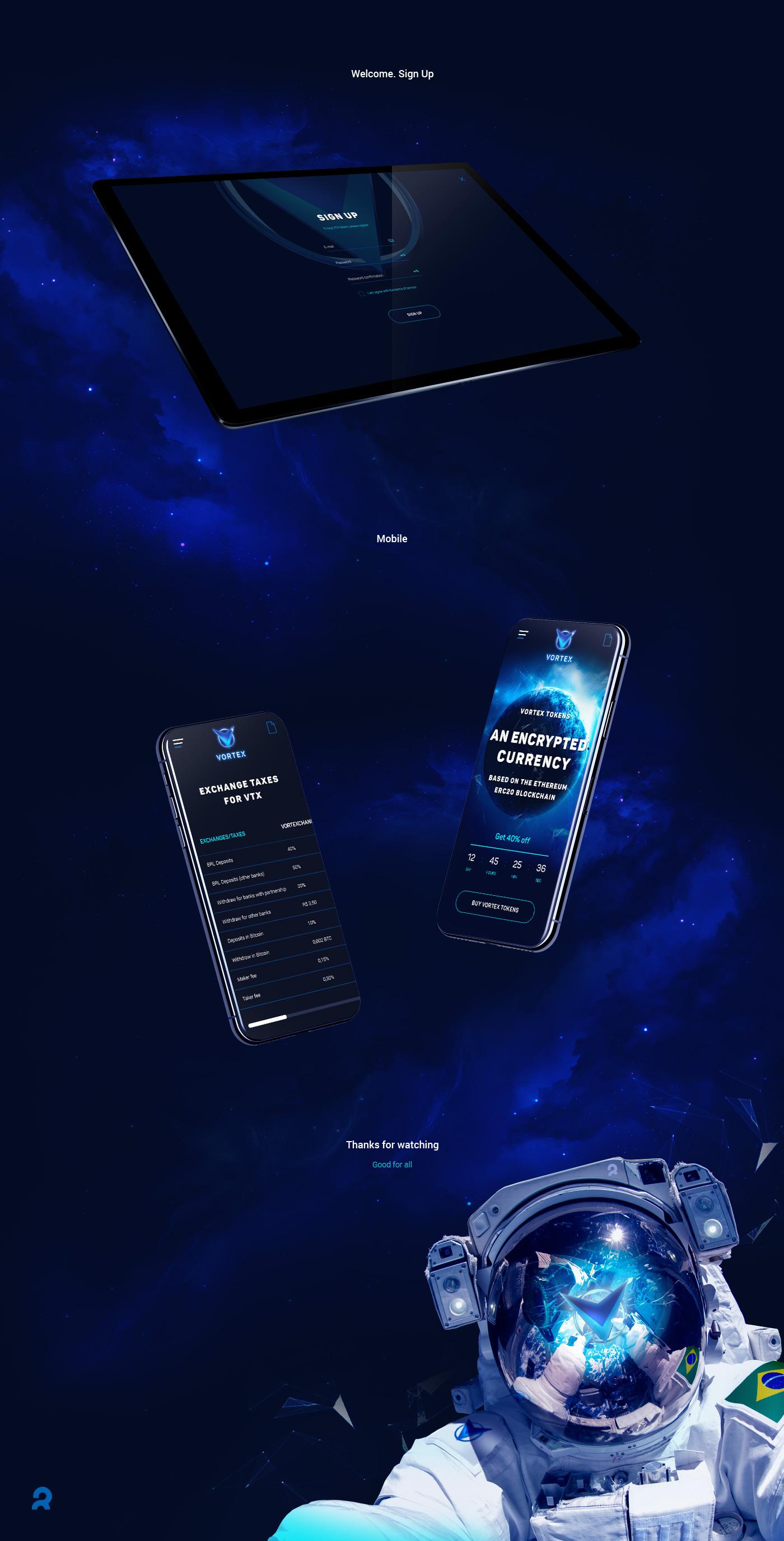 Ico landing blue crypto Interface coin exchange dashboard ux UI