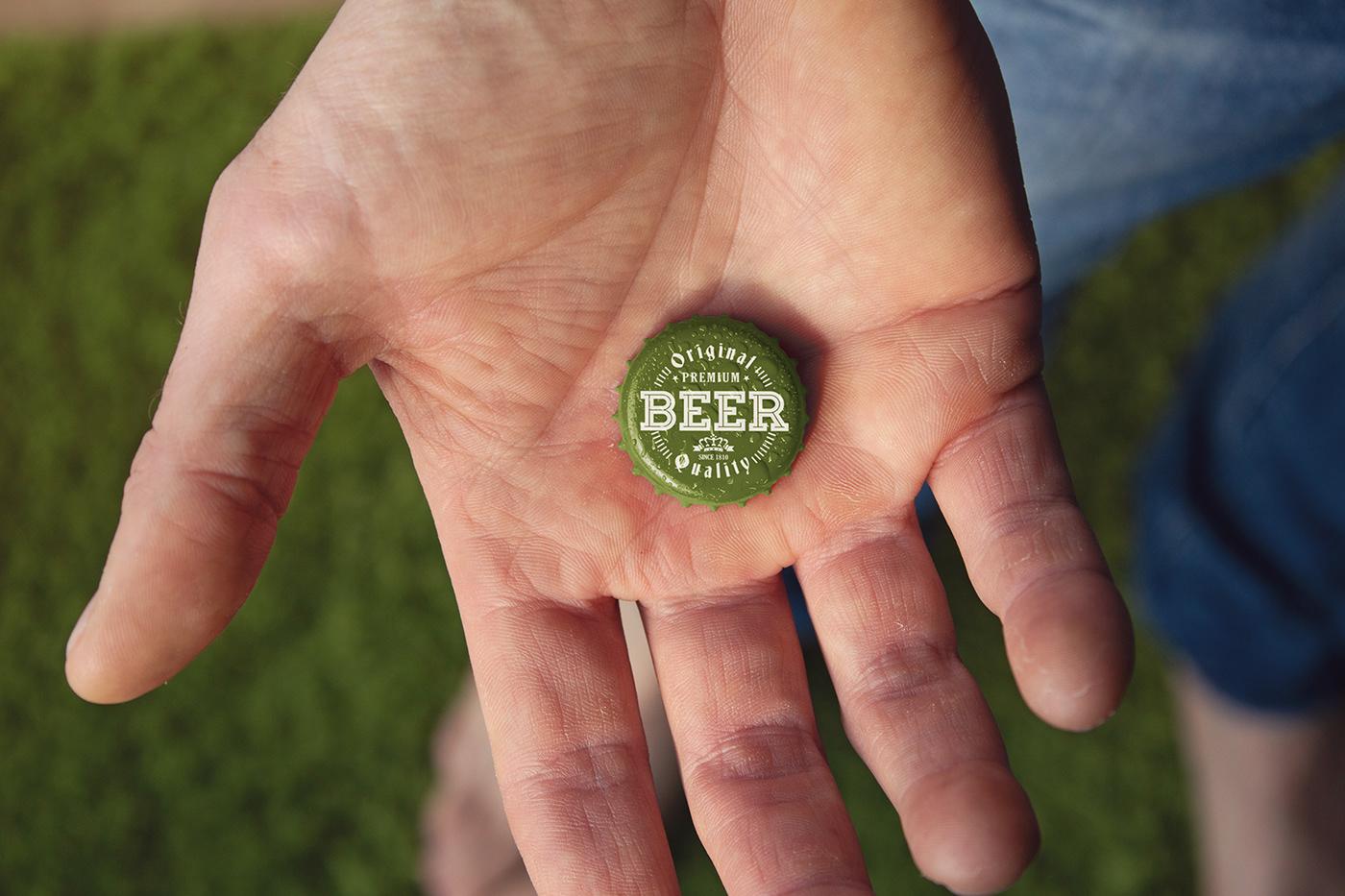 arm beer boy cap craft edit hand logo Mockup psd