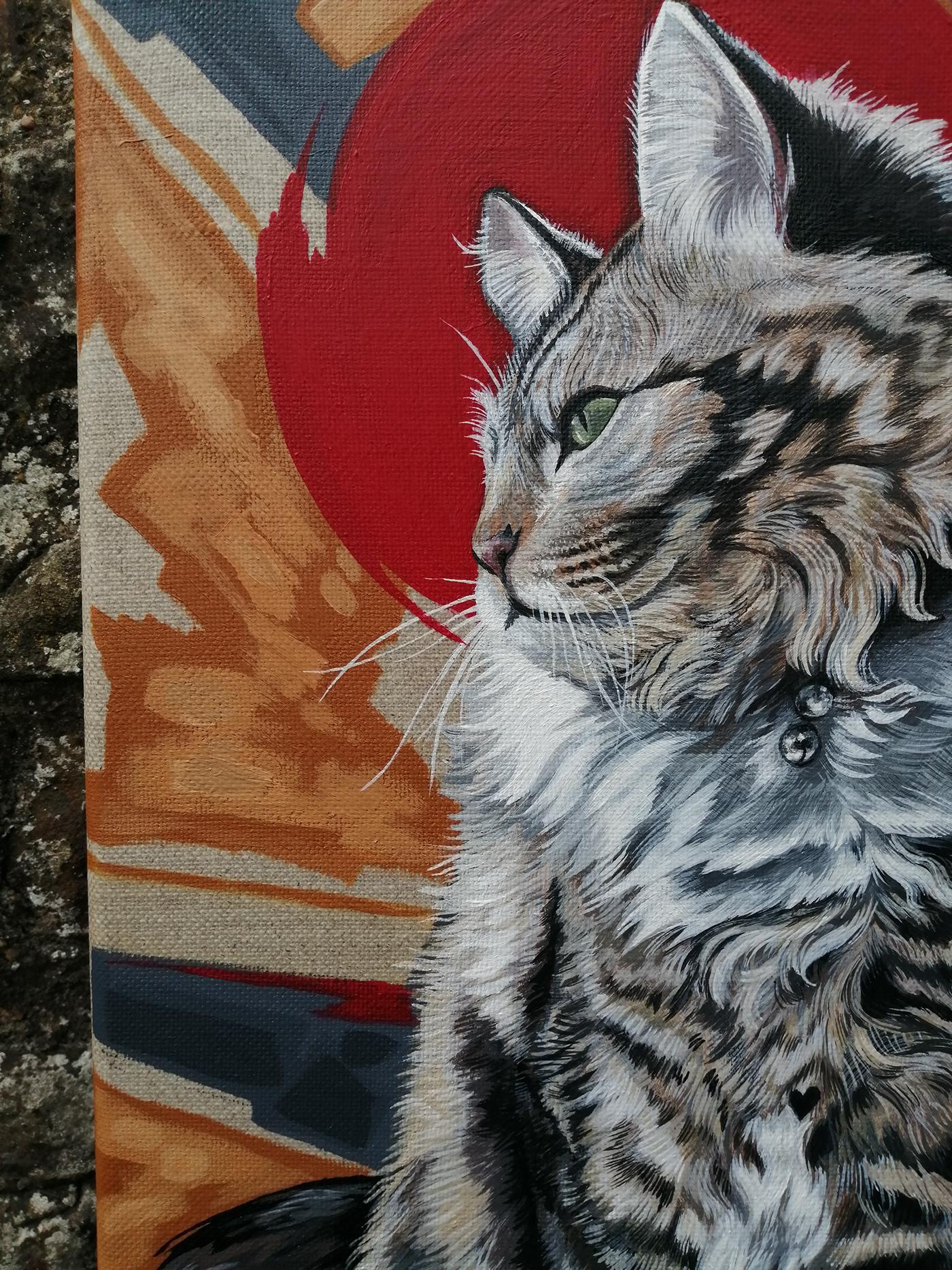 animal Cat cat portrait feline realistic