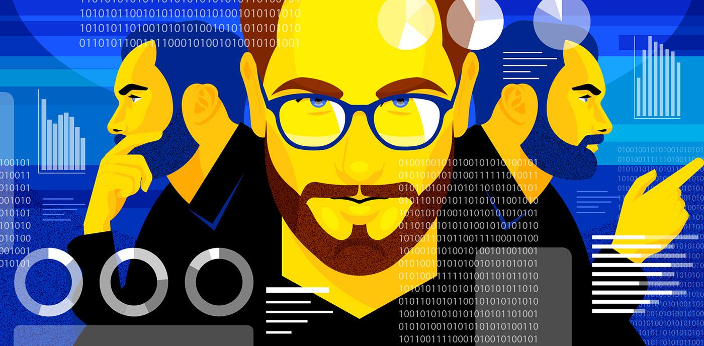 ILLUSTRATION  blockchain robot Technology Blog editorial virtual security
