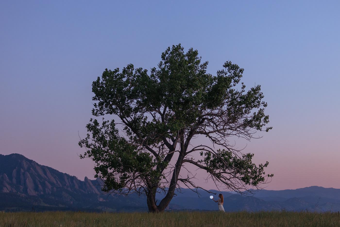 blue hour Colorado fine art photography Lamp Landscape light mountains Photography  self portraiture surrealism