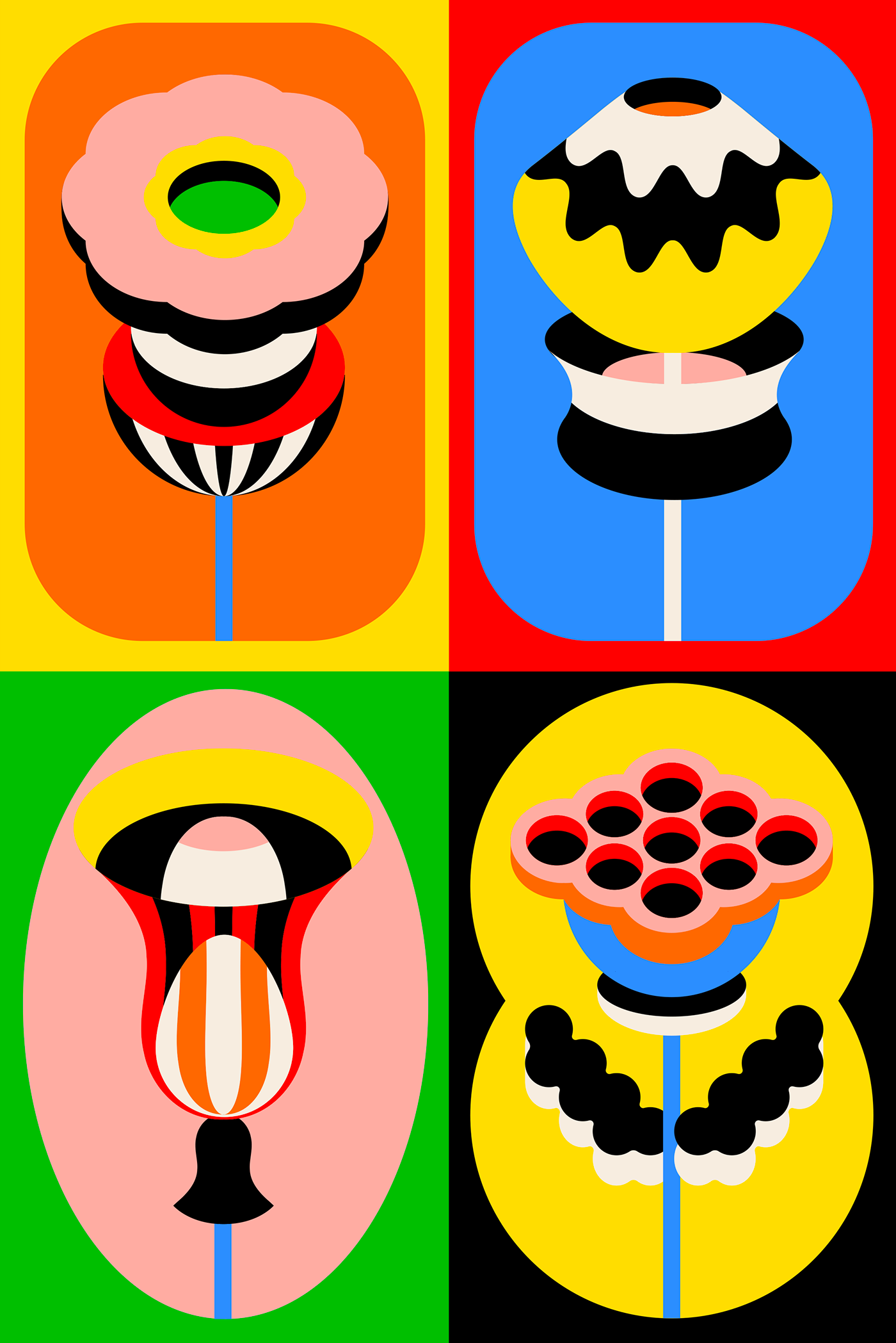 abstract,colorblock,colorful,flat,flower,graphic,ILLUSTRATION ,minimalist,popart,poster
