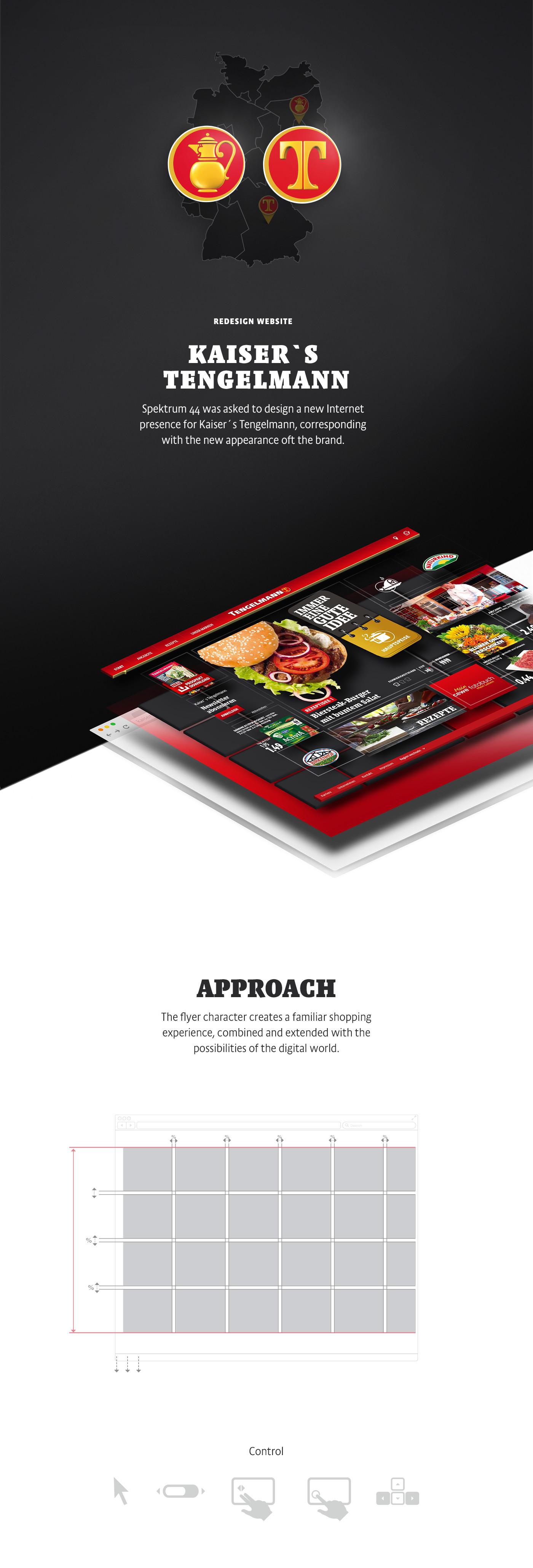 Kaisers Tengelmann germany Food  Spektrum 44 S44 munich design Layout UI red Supermarket touch