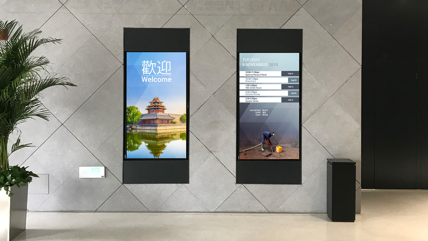 digital signage widescreen motion graphics  Event wayfinding interactive Theme graphics graphic design  design systems press