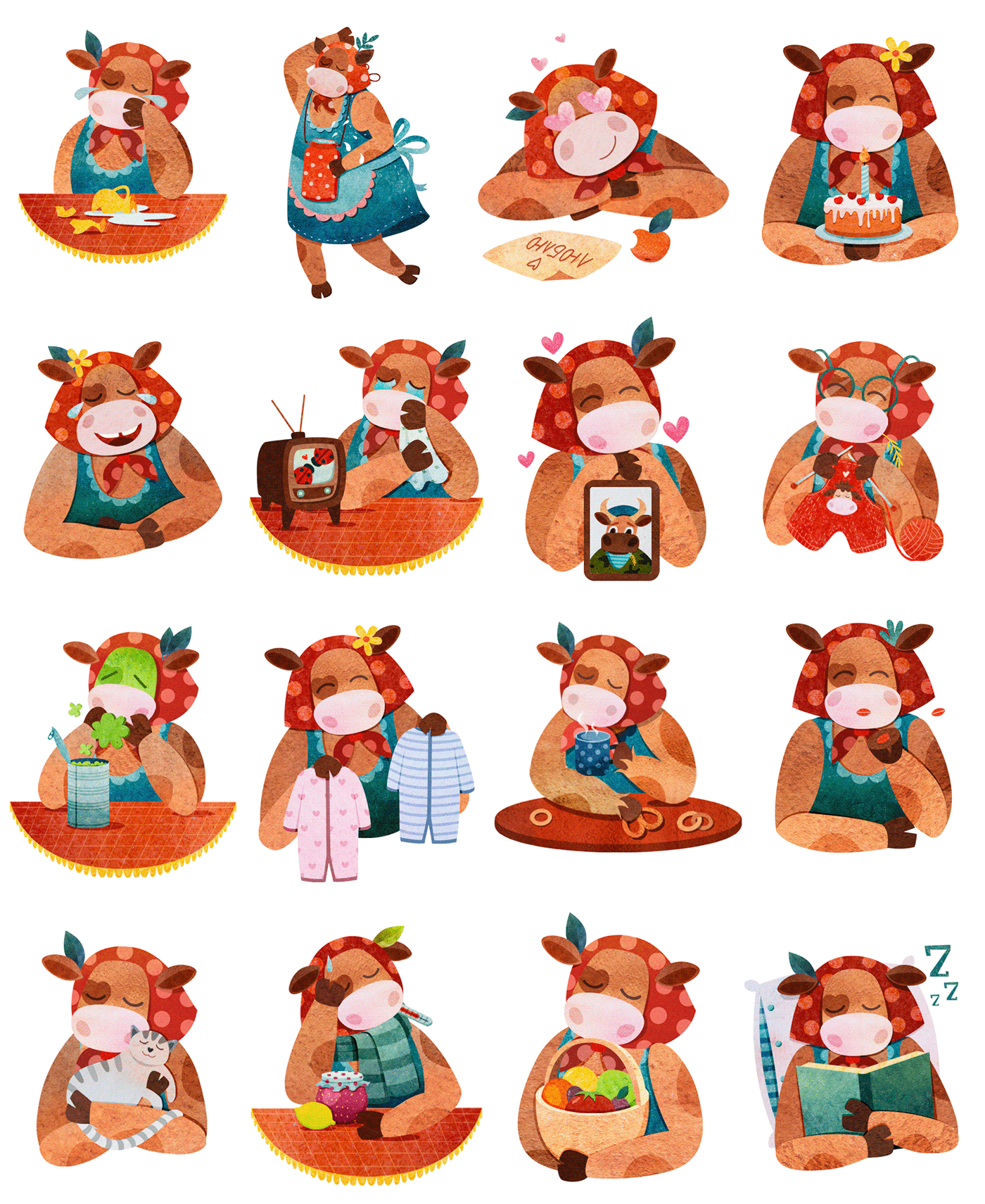 cow ILLUSTRATION  sticker Telegram Character design  watercolor animal farm mood Emoji