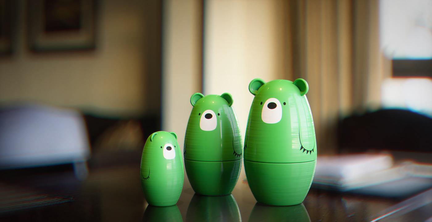 Kaspersky studio green 3D bear midorikuma