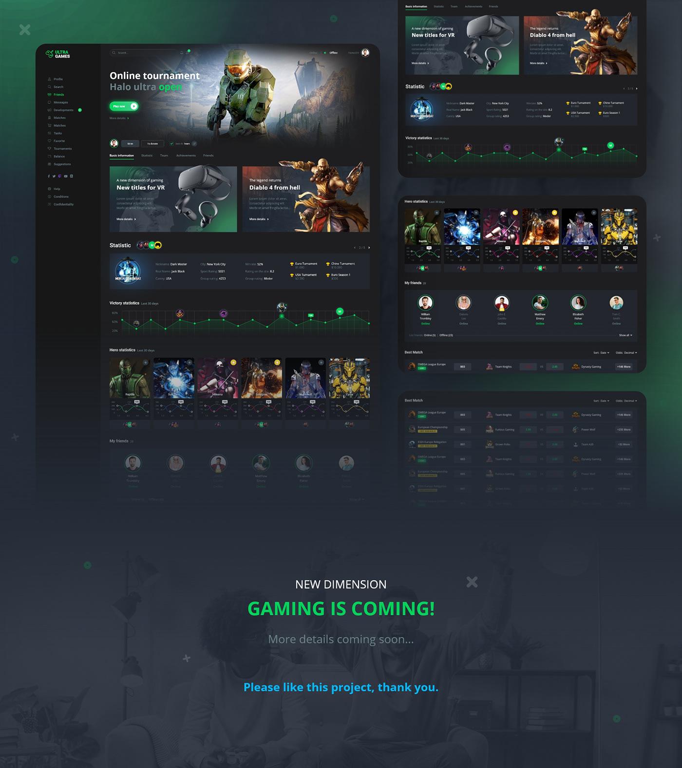 dashboard design game UI ux