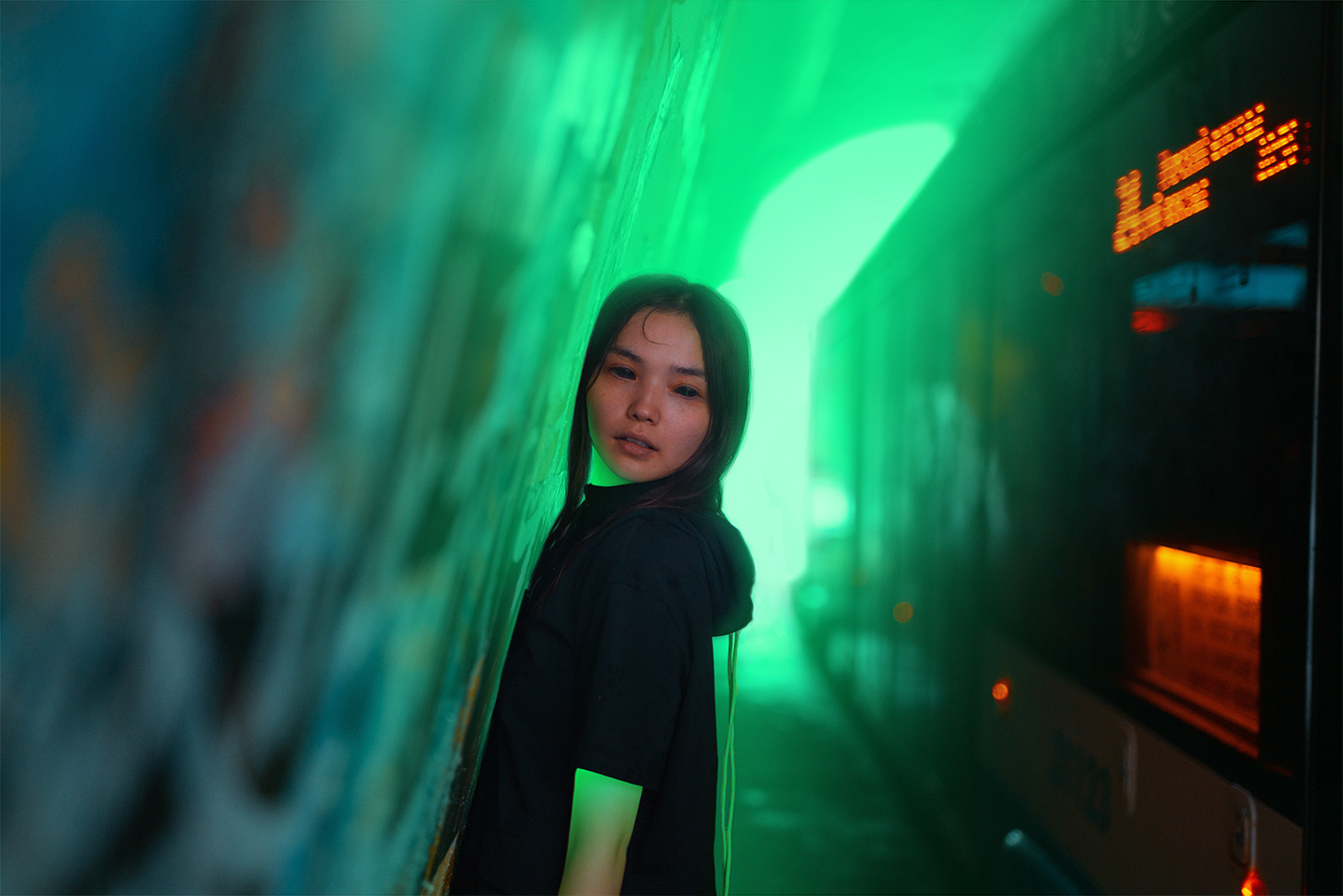 Cyberpunk,Cyborg,future,Russia,neon,glow,girl,car,brand,wear