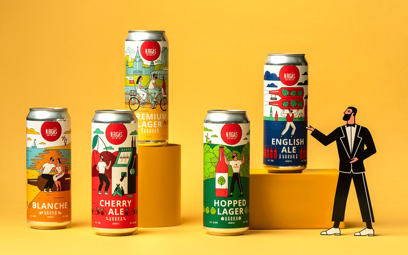 beer craft beer beer design ILLUSTRATION  flat Character design  Label can