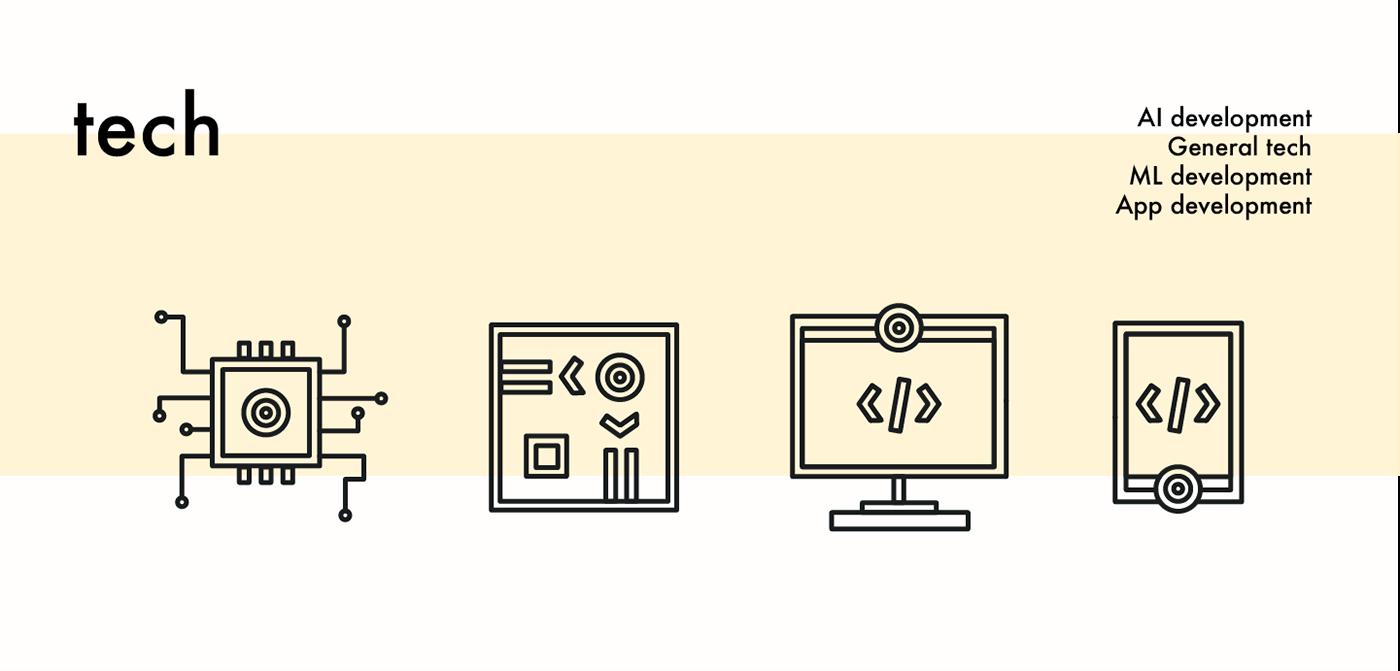 icons Space  explore Work  design tech geometric minimal