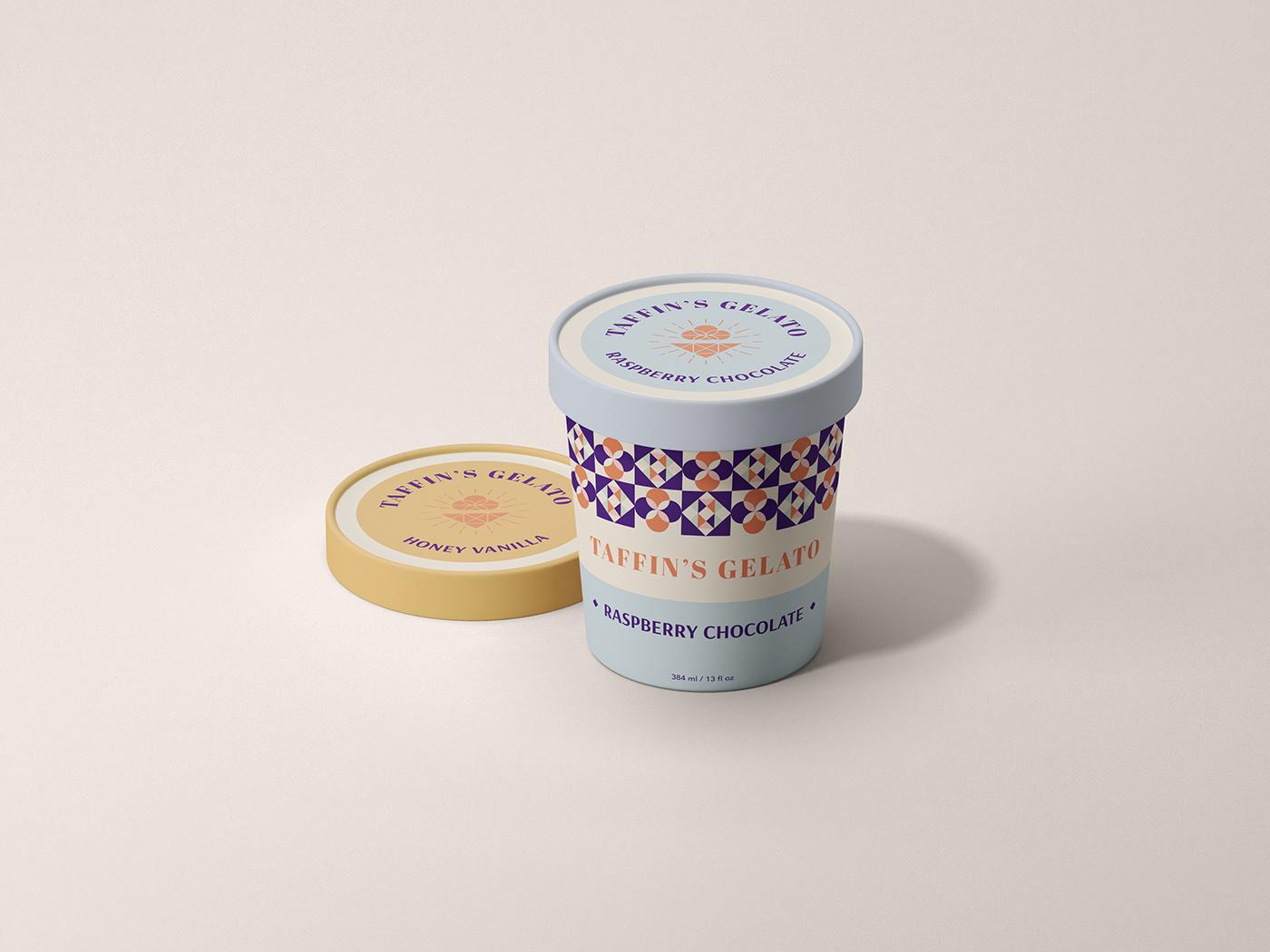 branding  dessert Food  Gelato ice cream identity Packaging Ice Cream Day logo poster