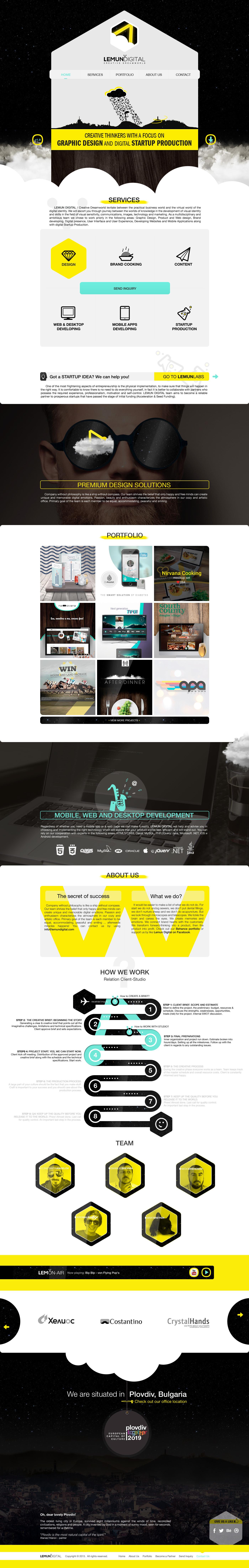 creative dreamworld yellow lemun digital lemun One Page landing page Space  design studio plovdiv Logo Design