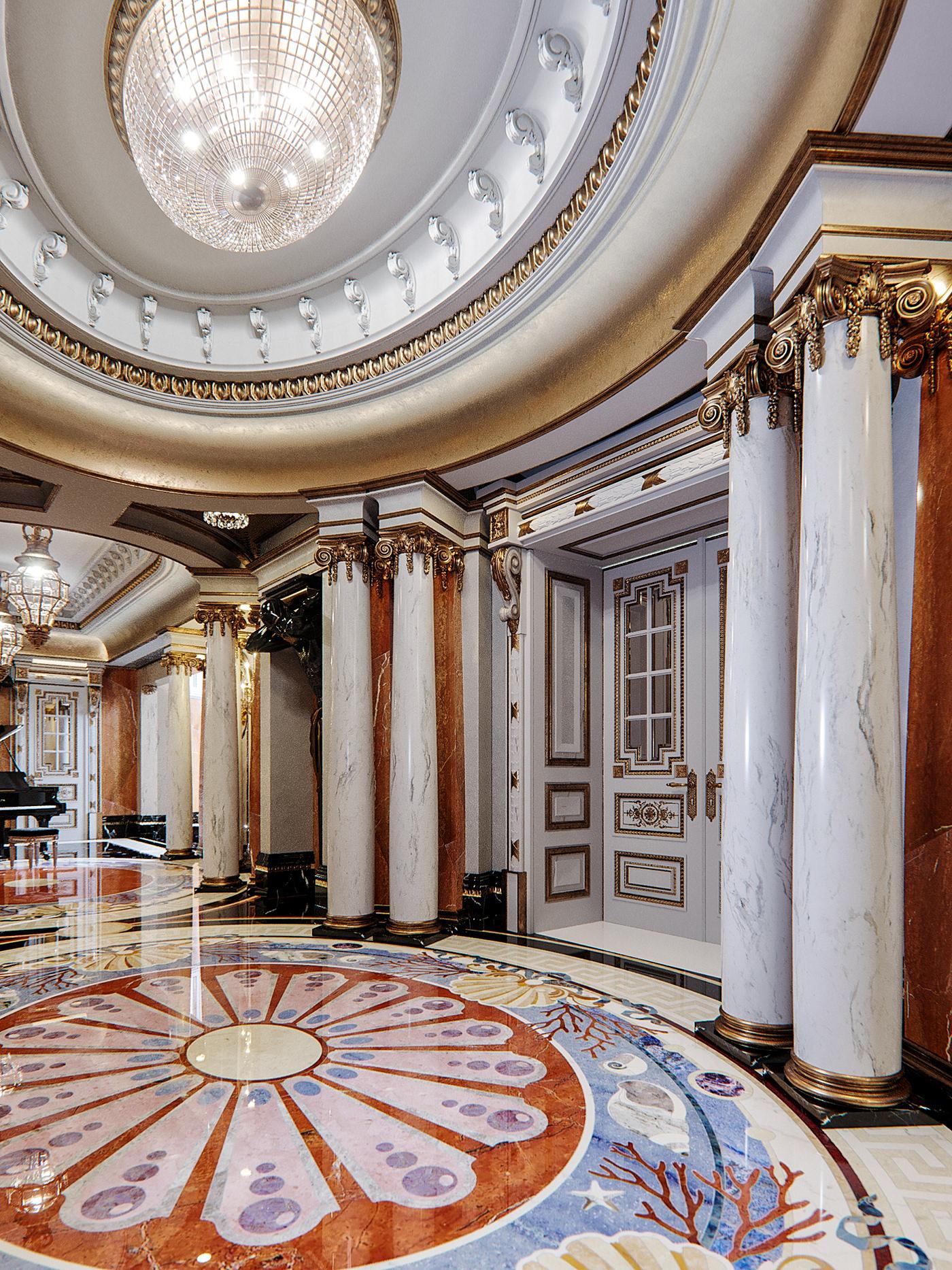 Hall Barocco sculpture clasics Interior Marble