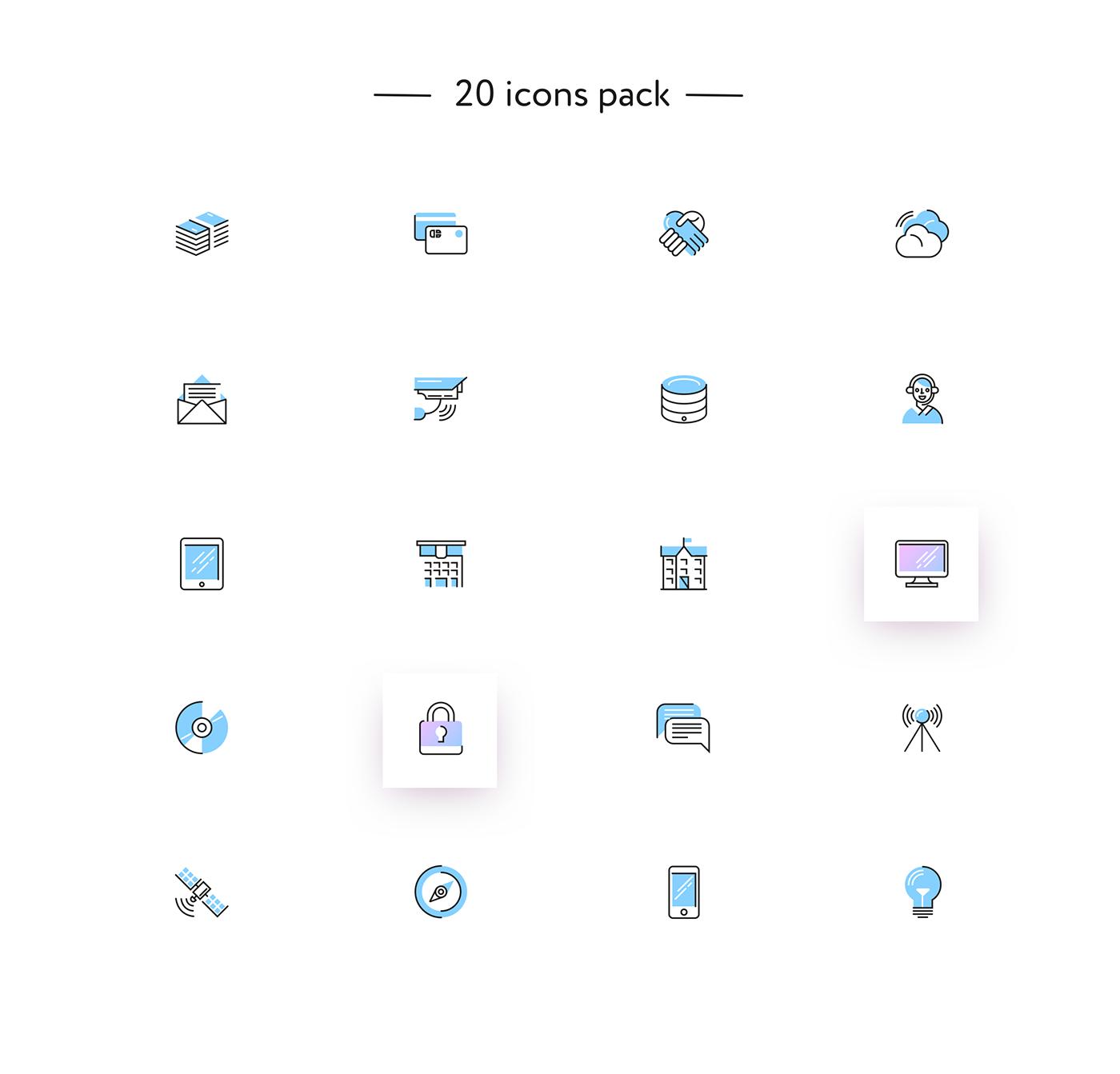 icons Icon IT Web line gradient free freebie proscom animation