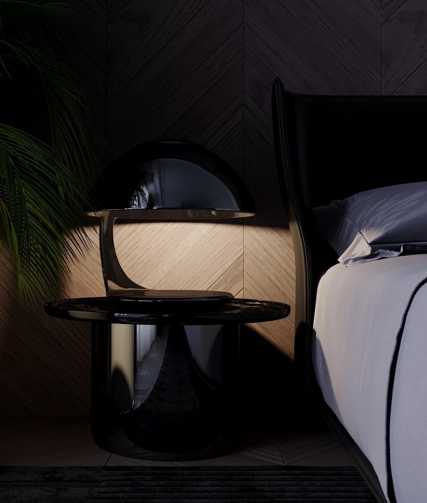 black design bedroom interiors decor luxury B&B Minotti