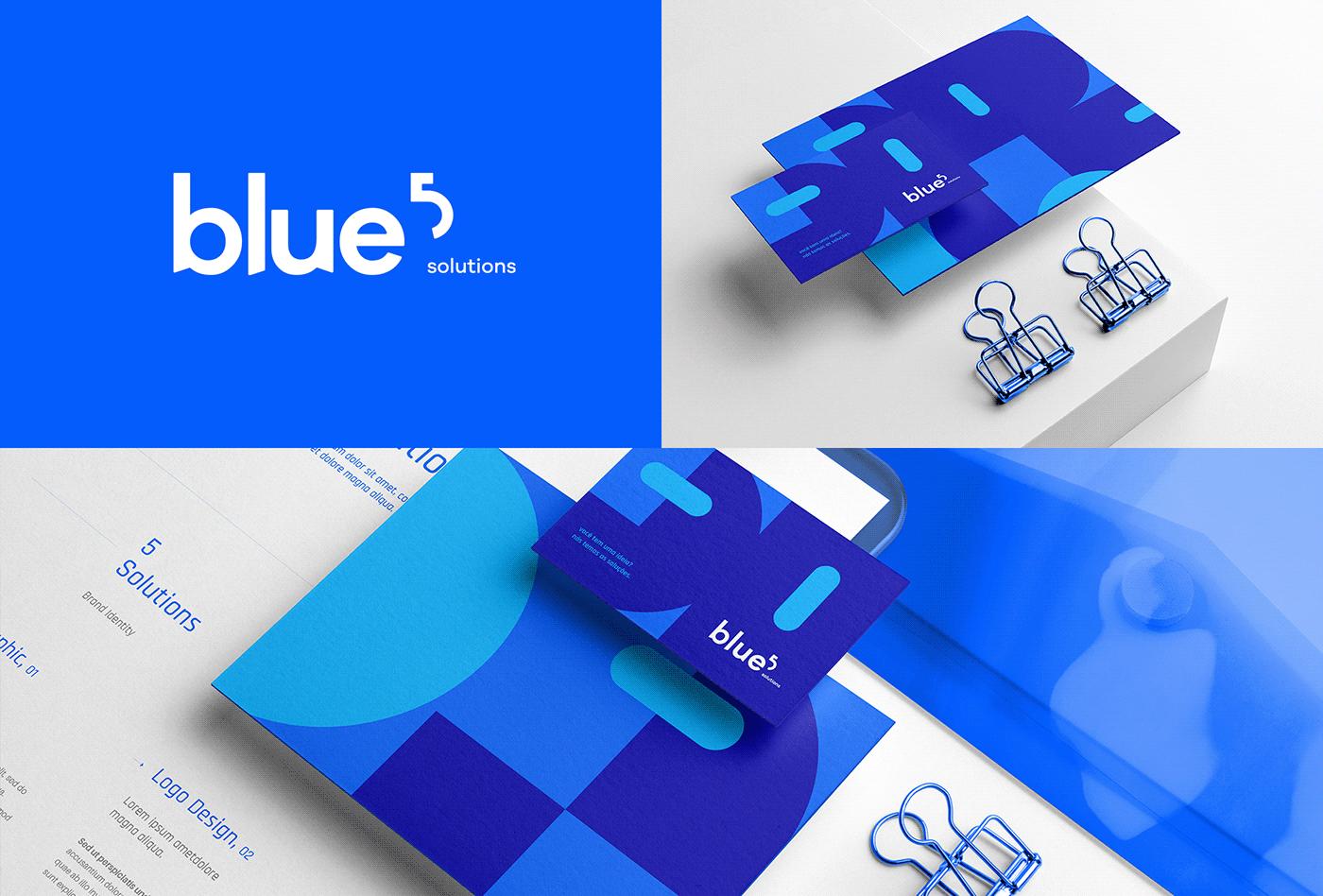 A imagem contém o logo da Blue 5 Solutions, uma representação de um cartão de visita e papelaria.