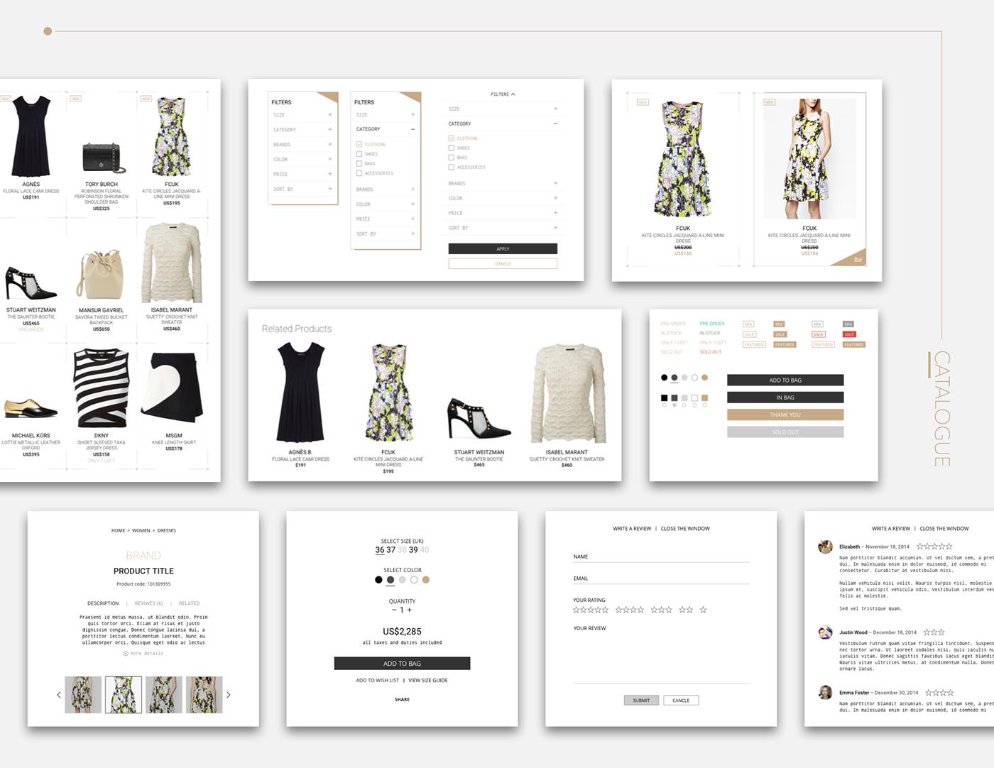 UI ux Ecommerce shop Responsive Website mobile tablet clean elegant sketch Interface interaction Web