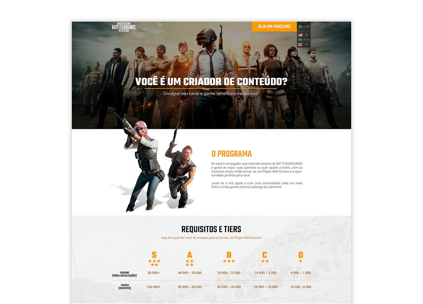 pubg mobile ux UI page Single Page Web Design  design Interface site