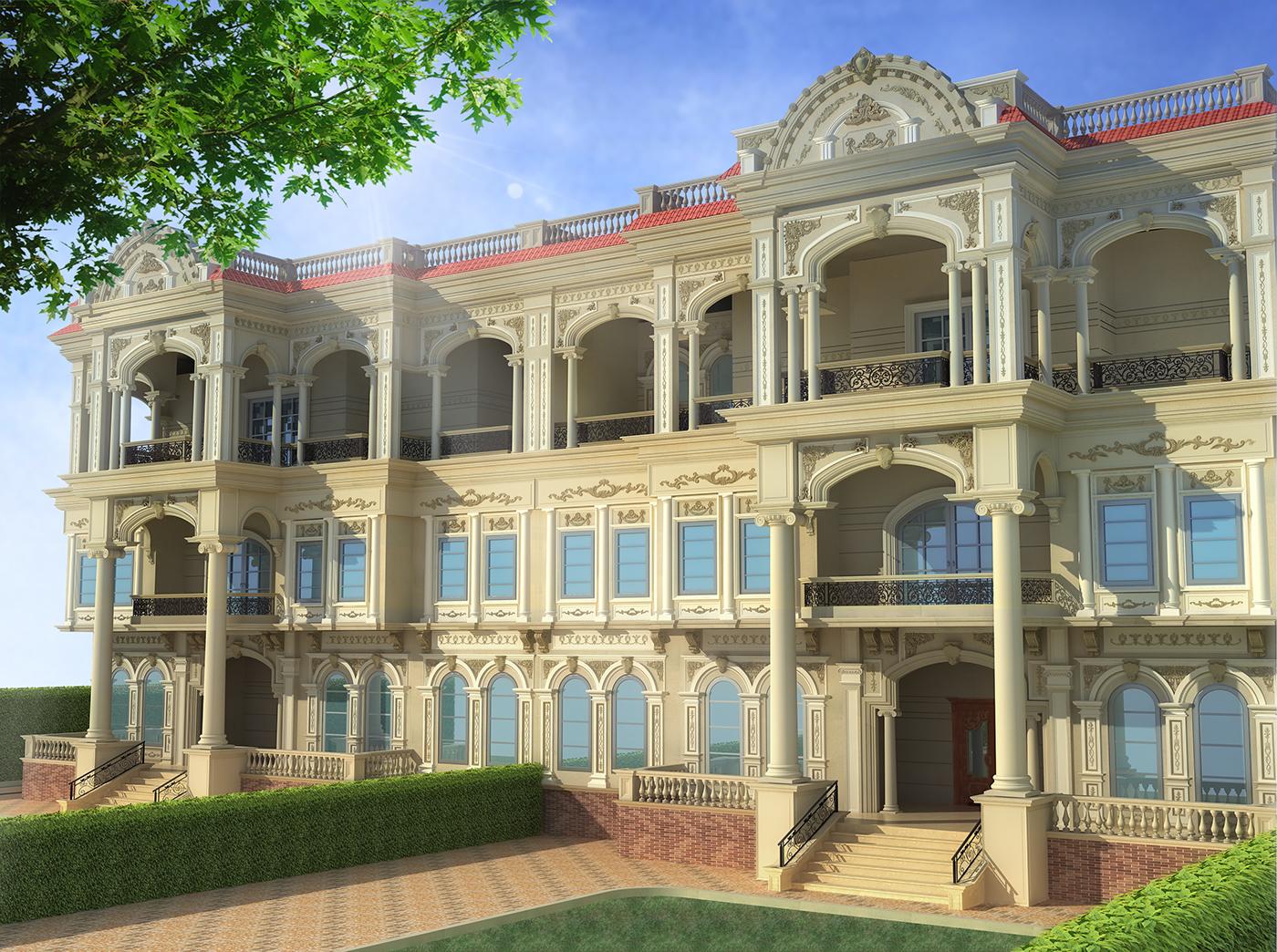 3d visualization of a classic villa on behance for Classic villa design