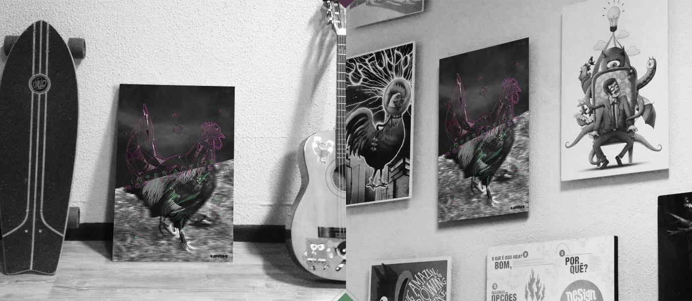 Rooster Galo poster cafundo design studio Cafundó Estúdio Criativo
